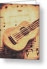 Little Carved Guitar On Sheet Music Greeting Card