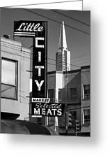 Little City Market North Beach San Francisco Bw Greeting Card