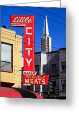 Little City Sign North Beach Greeting Card
