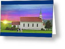 Little Country Church Sunset Panorama Greeting Card