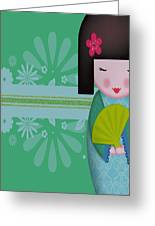 Little Geisha Blue Greeting Card
