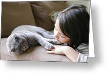 Little Girl Hanging Out With Her Scottish Fold Cat Greeting Card