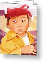 Little Girl In Red Hat Greeting Card by Judy Swerlick