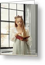 Little Girl Reading Book Greeting Card