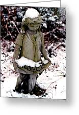 Little Girl Sculpture In The Snow Greeting Card
