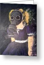 Little Girl Wear Gas Mask Greeting Card