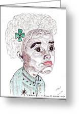 Little Girl With A Green Bow Greeting Card