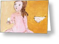 Little Girl With Her Hen Greeting Card