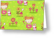 Little Girl With Her Rabbit On A Green Field Greeting Card