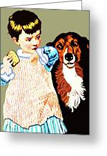 Little Girl With Hungry Mutt Greeting Card