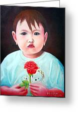 Little Girl With Rose Greeting Card