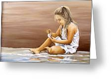 Little Girl With Sea Shell Greeting Card