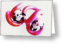 Little Glass Pandas 44 Greeting Card