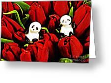 Little Glass Pandas 80 Greeting Card