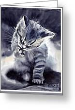 Little Grey Cat Greeting Card