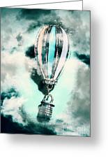 Little Hot Air Balloon Pendant And Clouds Greeting Card