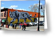 Little India In Jersey City-white Tiger Mural Greeting Card