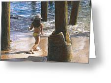 Little Jessica And Her Hat Malibu Pier  Greeting Card