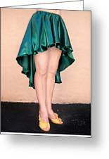 Ameynra Fashion Satin High Low Skirt, Dark-green Greeting Card