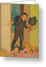 Little Pigs Running In With Good Luck And Boy Greeting Card