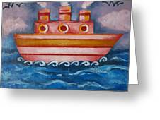 Little Pink Ship Greeting Card
