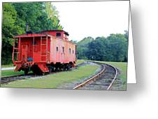 Little Red Caboose Enhanced Greeting Card