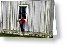 Little Red Peeping Tom Greeting Card