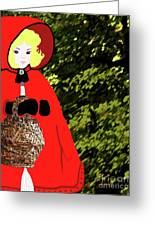 Little Red Riding Hood In The Forest Greeting Card