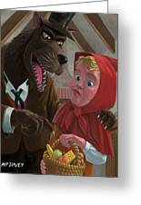 Little Red Riding Hood With Nasty Wolf Greeting Card by Martin Davey