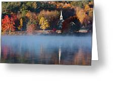 Little White Church On Crystal Lake Greeting Card