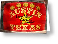 Live Music Mural Of Austin Greeting Card