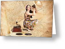 Live Music Pinup Singer Performing On Gig Guide Greeting Card