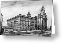 Liverpool Royal Liver And Cunard Buildings Greeting Card