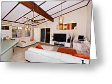 Living Room With Sloping Ceiling Greeting Card