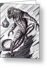 Lizard Warrior Greeting Card