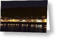 Llandudno Promenade At Night. Greeting Card