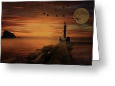 Llight House By Moonlight Greeting Card