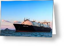 Lng Carrier Grand Aniva At Sunset On The Roads Of The Port Of Nakhodka.  Greeting Card