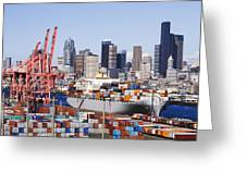 Loaded Container Ship In Seattle Harbor Greeting Card by Jeremy Woodhouse