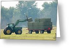 Loading Hay At Dusk Greeting Card