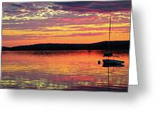 Loan Boat On A River At Sunset Greeting Card