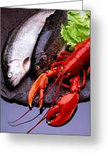 Lobster And Trout Greeting Card