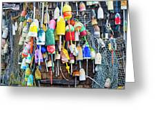 Lobster Buoys And Nets - Maine Greeting Card