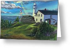 Lobster Cove Head Lighthouse, Rocky Harbour, Nl Greeting Card