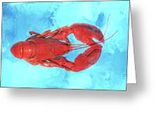 Lobster On Turquoise Greeting Card