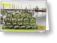 Lobster Pots Kilmore Quay, Wexford, Ireland Poster Effect 1b Greeting Card