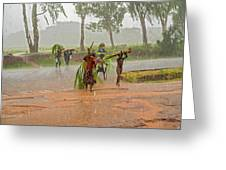 Local People Crossing The Road In Malawi Greeting Card
