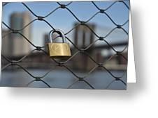 Lock And Bridge  Greeting Card