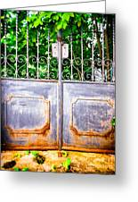 Locked Gate With Trees Greeting Card