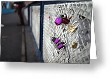 Locks On Bridge Greeting Card